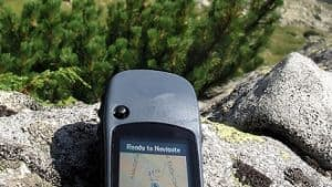 GPS in outdoor scenery for geocaching during an RV Trip