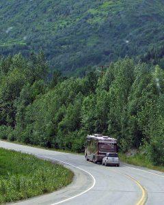RV Driving Down Road