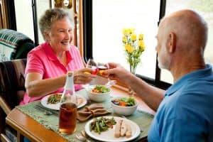 RV Seniors Having Romantic Dinner
