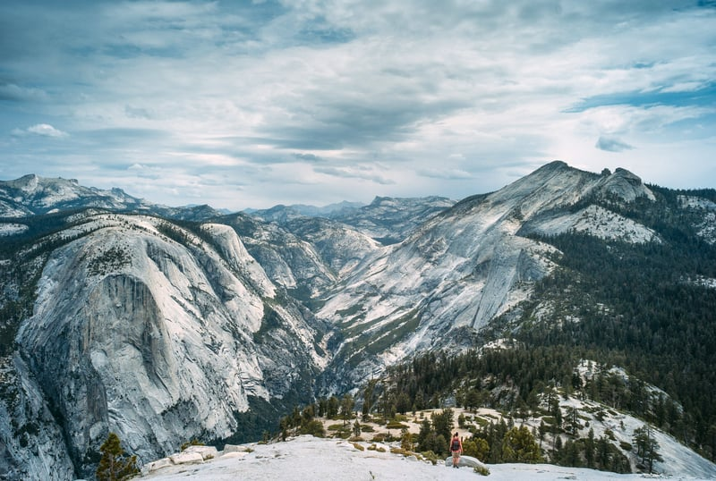 Snow capped mountains in yosemite